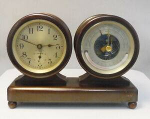 Antique Bronze Chelsea Columbus Ships Clock & Barometer Desk Set ~ Free Ship ~ A