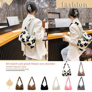 Women Warm Fur Handbag Plush Shoulder Underarm Bags Soft Fluffy Clutch Pouch Bag