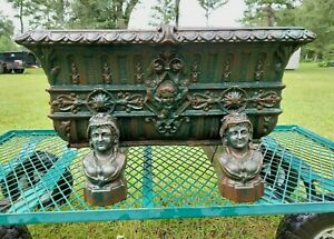 Rare Victorian Era Ornate Cast Iron Flower Garden Planter With Figural Stand
