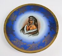 """Vintage Colorful Indian Decorative Collector's Plate, Gold Glaze Rim/Accents 10"""""""