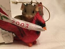 """Charming Tails """"The Year Is Flying"""" Fitz & Floyd Christmas Ornament 2003"""