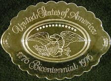 Decorative Collector Plate United States  America Bicentennial Oval Glass Eagle