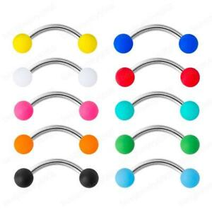 1 Pc 16g Surgical Steel Curved Eyebrow Lip Bar Ball Ring Barbell Piercing