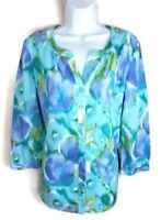 Peck & Peck Women Top Blouse Size 12 L Large Blue Green Button Front 3/4 Sleeve