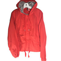 H&M Divided Red Hooded Lined Jacket Windbreaker Zip Up/Button Up Women's Size 14