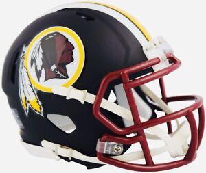 "WASHINGTON REDSKINS ""Flat Black"" Official Riddell Authentic Football Mini Helmet"