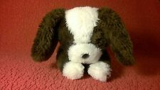 """Vintage 9"""" Wallace Berrie 1980 BROWN WHITE PUPPY DOG plush stuffed animal toy"""