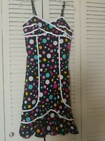 BETTIE PAGE Dress Sz S Black Background Multicolor Polka Dots Wiggle Dress