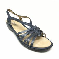 Women's NEW Clarks Bendables Strappy Wedge Sandals Shoes Size 9 W Wide Blue A11