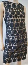 ALICE & OLIVIA Black Pink Circular Embroidery Sheer Sleeveless Evening Dress Sz8