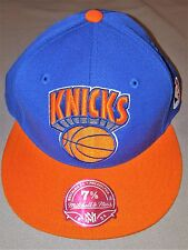 NEW YORK KNICKS NBA MITCHELL & NESS BLUE ORANGE AUTHENTIC FITTED CAP 7 3/8 NEW