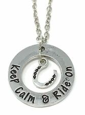 KEEP CALM & RIDE ON - Horse Riding inspired NECKLACE Pendant - NEW - UK STOCK