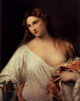 """Large Oil painting Tiziano Vecellio - Flora holding roses flowers no framed 36"""""""