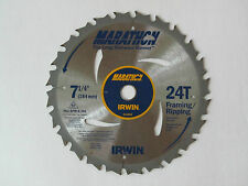 "2 Pack IRWIN MARATHON 7-1/4"" Carbide Tipped Saw Blade 24T Framing / Ripping"
