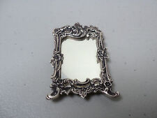 VINTAGE DUTCH .833 SILVER MINIATURE DOLL HOUSE LARGE WALL MIRROR with HANGER