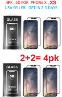 4Pk Tempered 3D glass Screen protector for IPHONE X Or XS Full GLUE CURVED