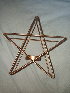 Metal Bronze Star Candle Holder