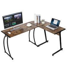 L Shaped Brown Desk Corner Computer Gaming Laptop Table Workstation Home Office