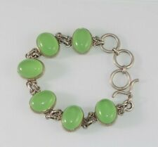 Vintage 925 sterling silver natural green chrysoprase bracelet