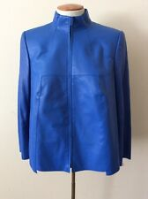 AKRIS Electric Blue Leather Jacket Size 12