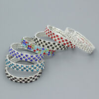 Colorful Crystal Rhinestone Stretch Bracelet Bangle Silver Plated Wristband