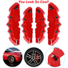 4pcs Front & Rear Universal Red 3D  Car Disc Brake Caliper Covers Accessories US