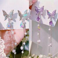 Fashion Long Tassel Butterfly Earrings Crystal Rhinestone Drop Pearl Pendientes
