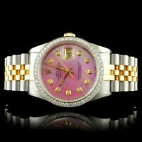 ROLEX CERTIFIED MENS18K/SS DATEJUST JUBILEE 1.25CT DIAMOND 36MM WRISTWATCH