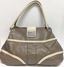 NEW-GUESS KISSA TAUPE,BROWN+CREAM/OFF-WHITE LEATHERETTE TOTE,HAND BAG,PURSE-$125