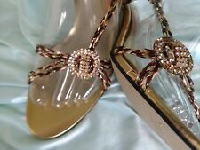 Wild Rose Sz.8 Rhinestone Medallion Strappy Sexy Slingbacks Gold-Copper-Wine