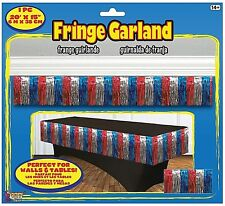 TINSEL FRINGE GARLAND Red Silver Blue TABLE SKIRT Parade Wall Fringe       2-3C