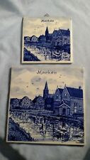 Pair of Marken Souvenir Dutch Delft Tiles