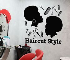 Wall Sticker Vinyl Decal Haircut Style Barber Tools Scissors Hairdresser (i1120)