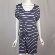 Deletta Anthropologie Size Small Gray & White Gathered Jersey Knit T Shirt Dress
