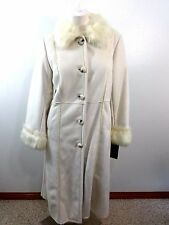 NEW DESIGNER TERRY LEWIS WINTER WHITE FAUX LEATHER & FUR COAT SIZE S