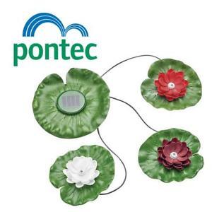 PONTEC PONDOSOLAR LILY LED SET 3 GARDEN POND LIGHT FEATURE SOLAR POWER LILYPAD
