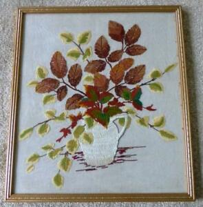Large Completed Embroidery Picture Framed under Glass-Vase of Flowers No MC-423
