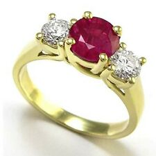 18k Yellow Gold Ruby Diamond Engagement Ring  R816