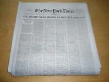 THE NEW YORK TIMES MAY 24, 2020, U.S. DEATHS NEAR 100,000 AN INCALCULABLE LOSS