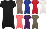 Womens Plus Swing Flare Dress Top Short Sleeve Mini Stretch Round 16-26