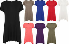 Womens Plus Swing Flare Dress Top Short Sleeve Mini Stretch Round 16-26