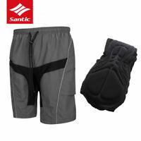 Santic Men Cycling Shorts Casual Shorts with Padded Detachable Liner Gray
