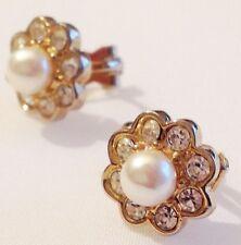 B.O clips vintage couleur or fleur cristaux diamant perle nacrée 327
