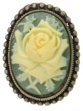 Leaf Rose Flower Pin Brooch Su Chic Gold Cameo Green Resin Pale
