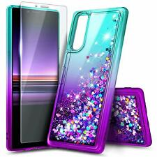 For Sony Xperia 2 / Xperia 5 Case Liquid Glitter Bling Cover + Tempered Glass