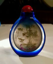 Antique Chinese Snuff Bottle Reverse Hand Painted Cobalt Blue Glass Calligraphy