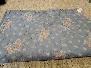 Simply Shabby Chic Twin Quilt Blue Lily Rose Chambray French Cottage New as is