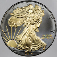 2014 U.S DOLLAR BLACK RUTHENIUM AND 24KT GOLD GILDED SILVER COIN W/COA IN BOX BU