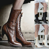 ❤️ Women's Victorian Gothic Mid-Calf Boots Steampunk Kitten Heel Lace Up Shoes