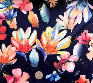 NAVY FLORAL PRINT SUPERSOFT STRETCH Polyester Dress Fabric per1/2 metre FREE P&P